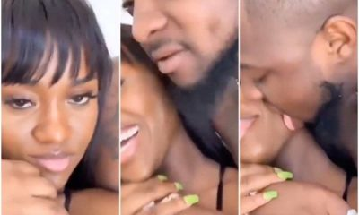 Davido licks Chioma's face as they reunite after 2 months apart