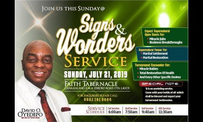 Winners' Chapel Live Service 21 July 2019
