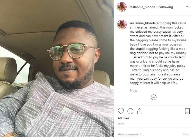 Annie Blonde, a Nigerian porn star fired up her Instagram