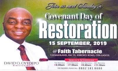 Winners' Chapel 15 September 2019 Live Service with David Oyedepo