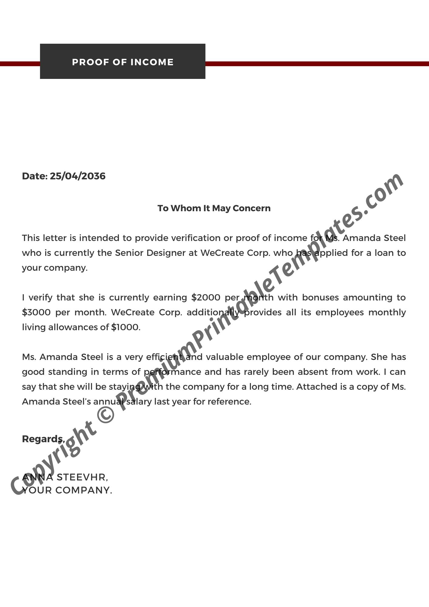 Proof Of Income Letter