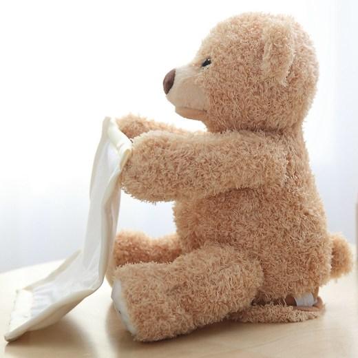 30cm Peek a Boo Teddy Bear Play Hide Seek Lovely Cartoon Stuffed Kids Birthday Xmas Gift Cute Electric Music Bear Plush Toy New