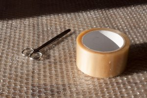packing tape and scissors