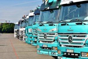 A row of trucks.