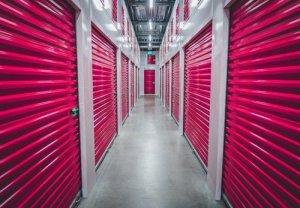 storage facilities with pink doors