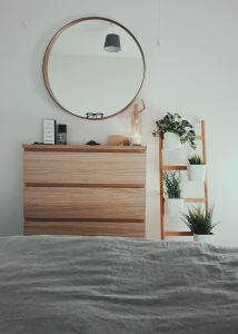 Mirror on the wall with drawer