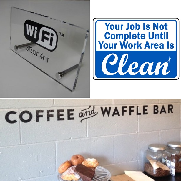 kitchen signs for work runner mat helpful office customers and employees premium solutions manager facilities workplace wifi