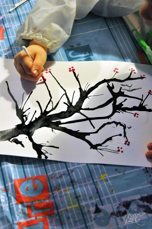 Prendre le temps - Voyageons Ludique - Asie - Cerisier japonais à l'encre de chine et peinture - Japon - 02