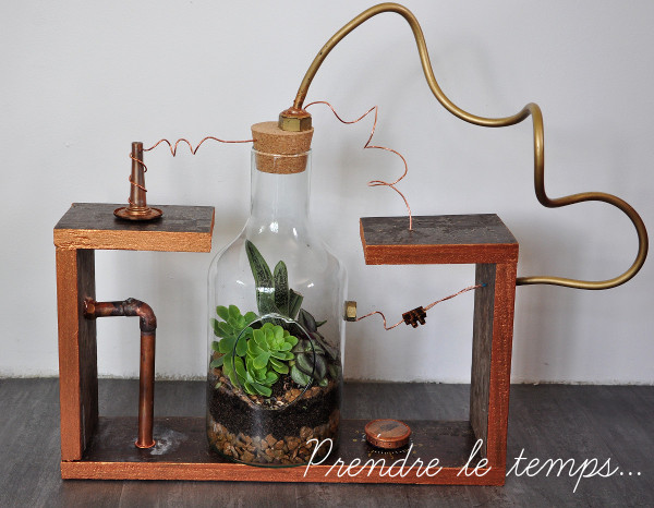 Prendre le temps - Challenge Oui Are Makers - Terrarium de laboratoire - steampunk - #OuiAreMadTeam #ChallengeOuiAreMakers