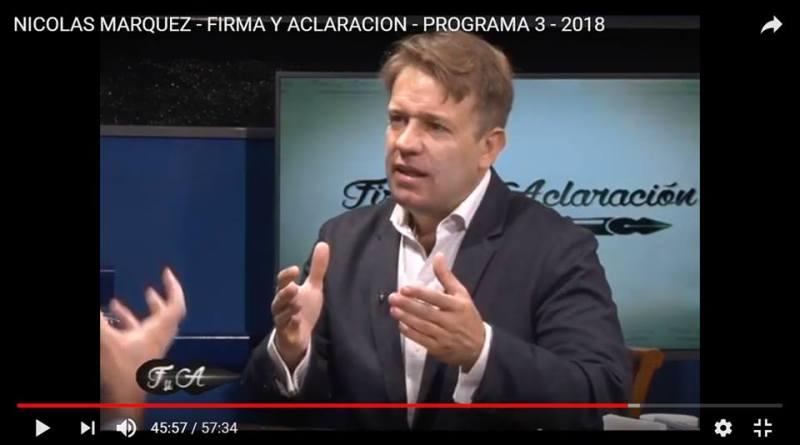 TV: Reportaje íntimo a Nicolás Márquez: su obra, pensamiento e influencias.