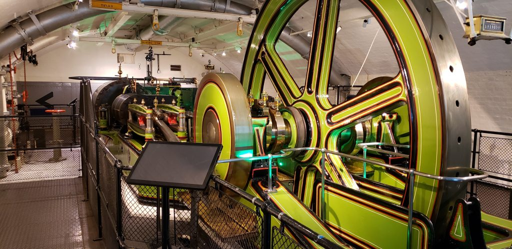 The engine room of Tower Bridge housing one of the original steam engines