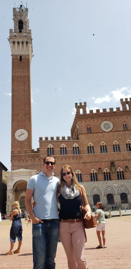 In front of the Torre del Mangia