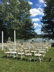 Farmington Lake ceremony site with mismatched farm chairs