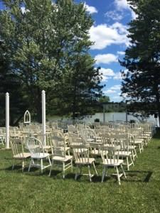 Farmington Lake ceremony site with mismatched farm chairs