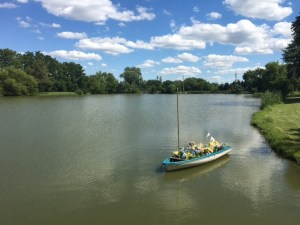 Farmington Lake floral boat on the lake