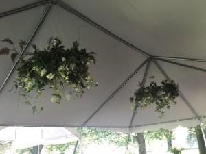 Farmington Lake rain tent floral chandeliers
