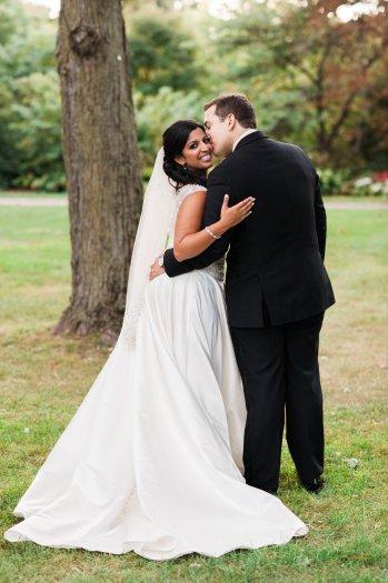 Wedding couple posing on their wedding day