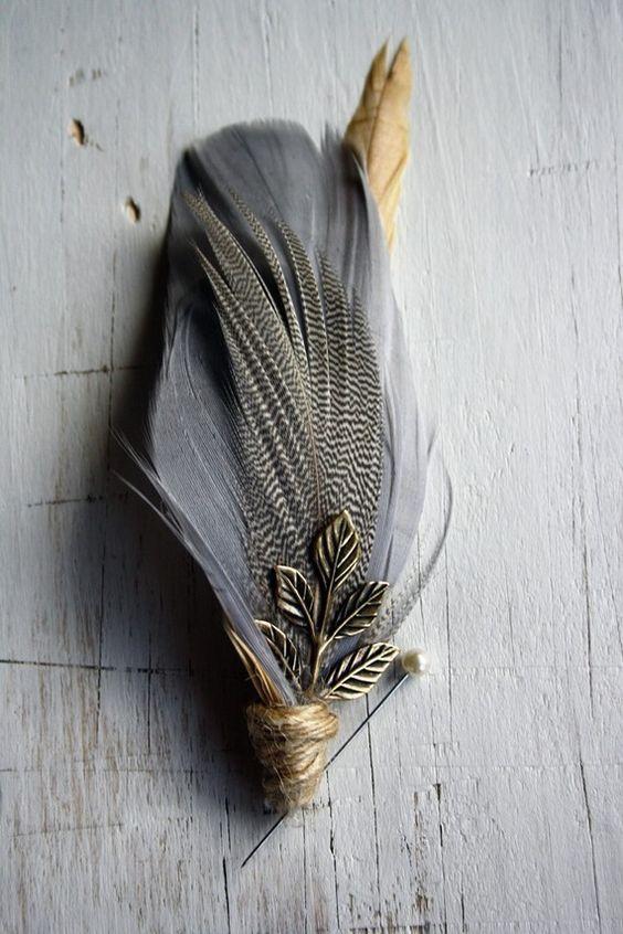 Groomsmen feather boutonniere