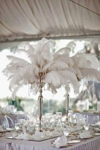 Feather over the top centerpieces