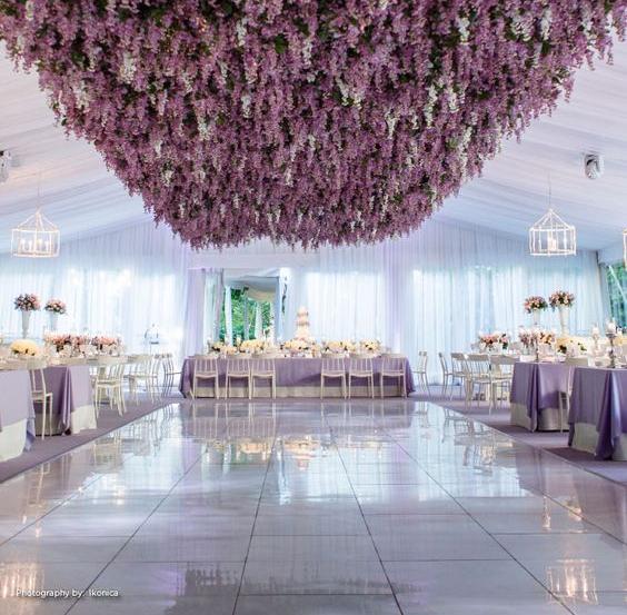 Dramatic floral dance floor