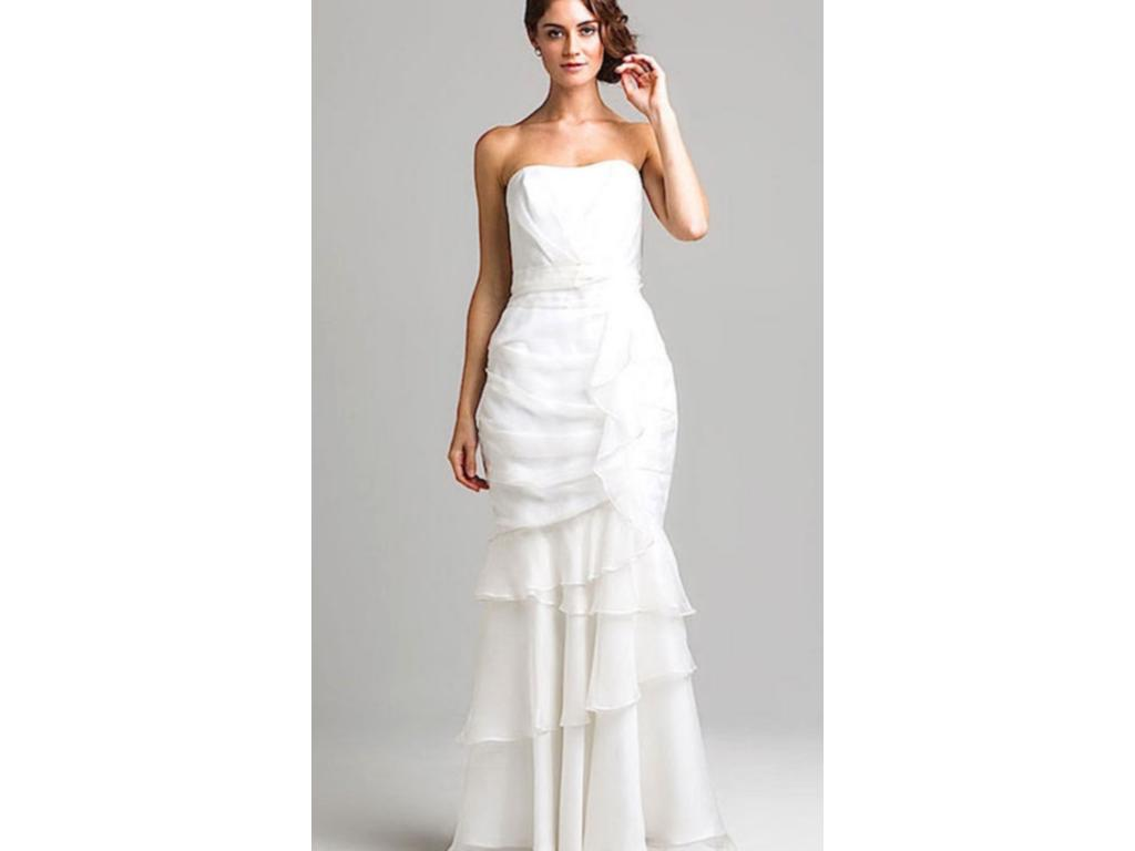 Other Off-White Silk Strapless Gown, $174 Size: 10