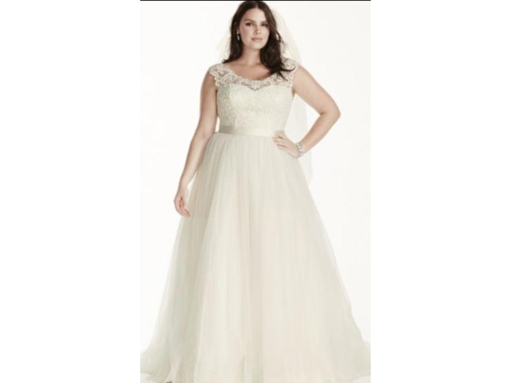 David's Bridal Tulle Plus Size Wedding Dress With Lace Cap