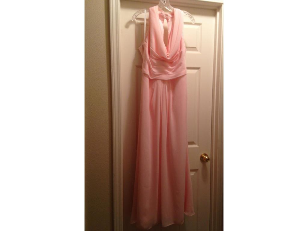 David's Bridal F18073 Long Chiffon Dress With Front Cowl