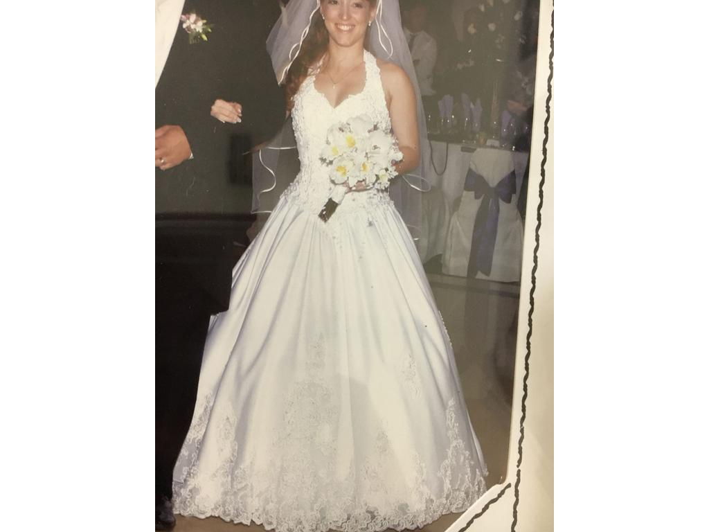 David's Bridal Halter Dress White With Long Train , $500