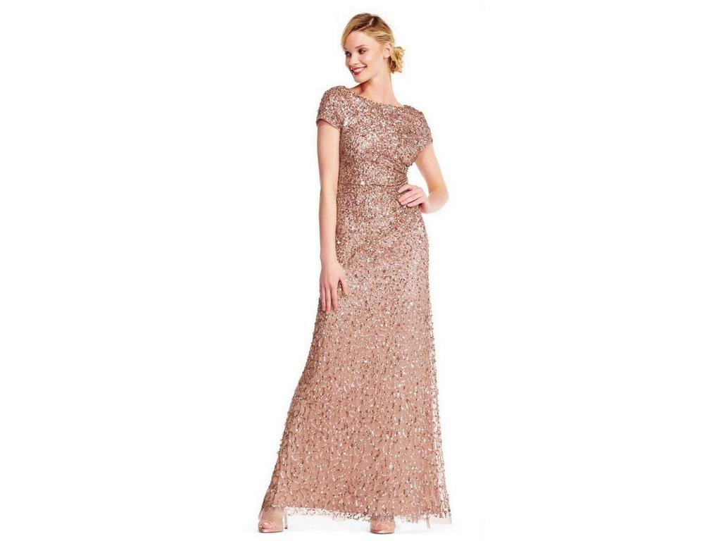 Adrianna Papell Cowl Back Beaded Long Gown (rose Gold