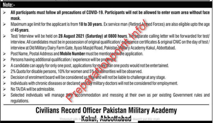 PMA Kakul Jobs 2021 Advertisement - Pakistan Military Academy Abbottabad Jobs