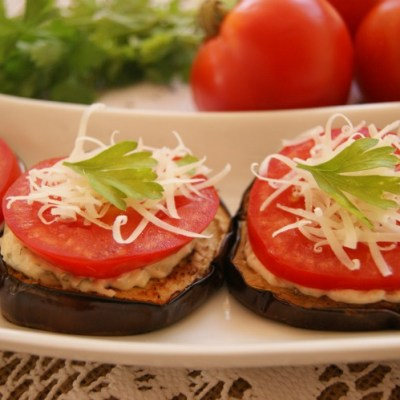 Garlic Roasted Eggplant and Tomato Appetizer Recipe