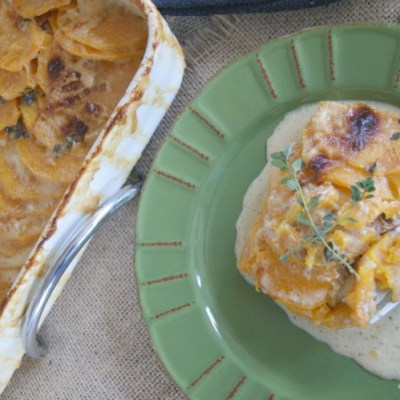 Scalloped Butternut Squash with Thyme and Caramelized Onions
