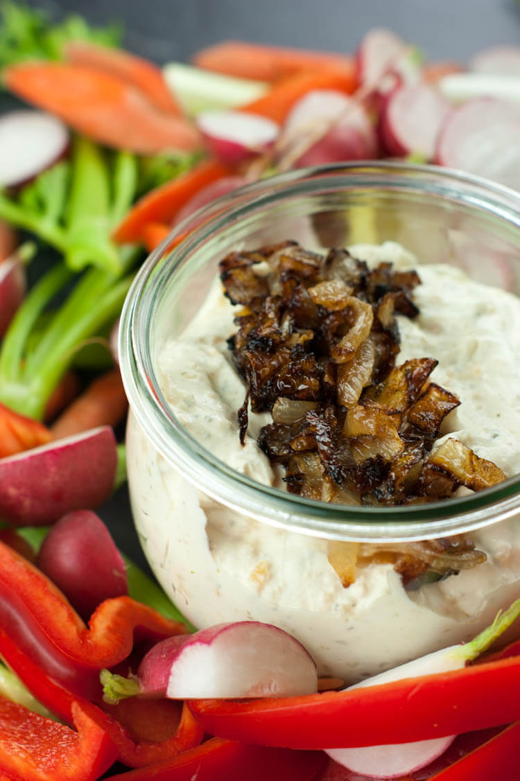 Homemade French Onion Dip -This Homemade French Onion Dip calls for only 8 ingredients (7 are pantry items) and can be whipped up in 5 minutes. It's a naturally low-carb appetizer - just dig in with your favorite veggies.