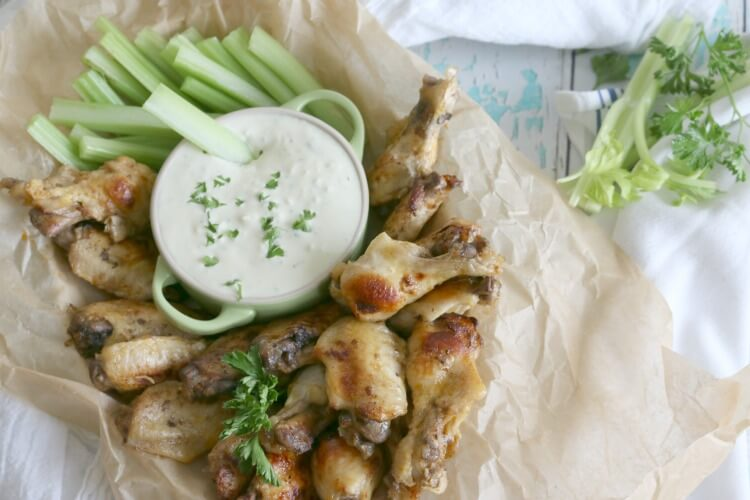 Instant Pot Buffalo Chicken Wings with Blue Cheese Dip