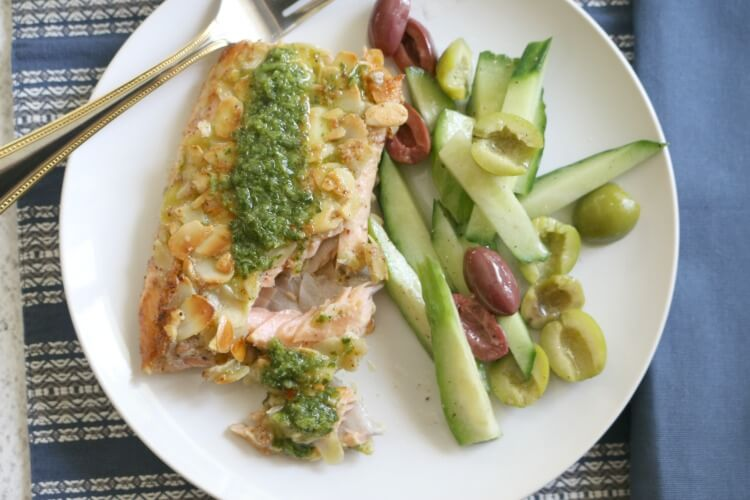 Almond-crusted Trout and Cucumber Olive Salad