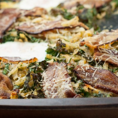 Sheet Pan Breakfast with Kale, Bacon and Hash Brown