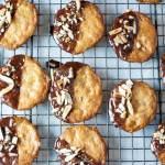 Almond Orange Cookies -With hints of orange zest, these crispy thin almond cookies are dunked in chocolate and topped with toasted almonds.  These Almond Orange Cookies are naturally gluten free, primal and GAPS with Paleo version.