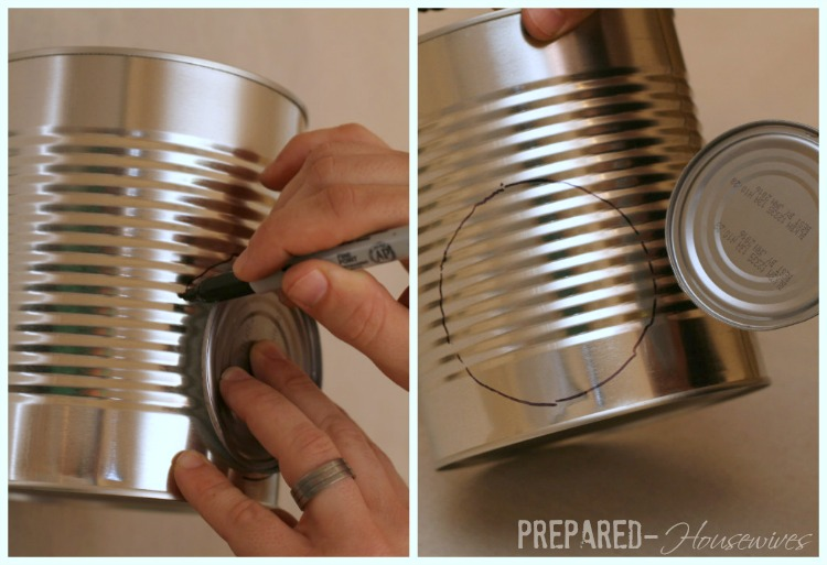 mark hole to cut tin can