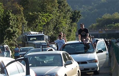 In the event of an EMP, vehicles would be rendered useless and commuters would be stranded. Photo c/o losgatosobserver.com