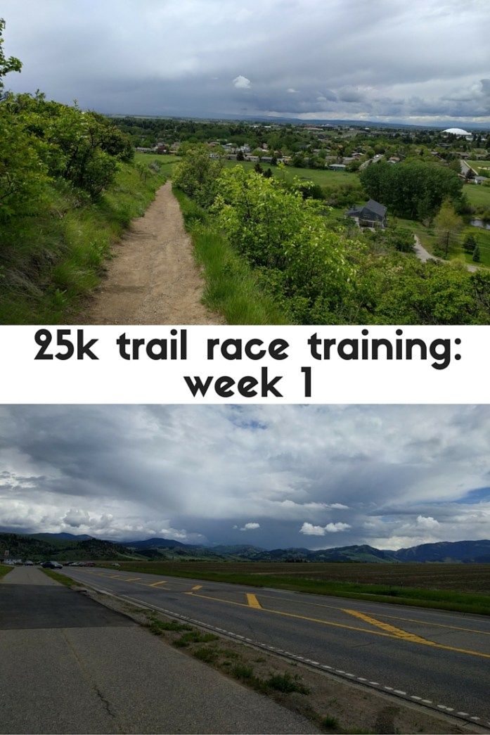 Recap of week one of 25k training for a trail race: running, strength training, yoga, hiking.