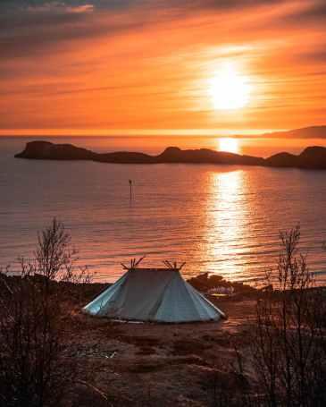 tent by lake