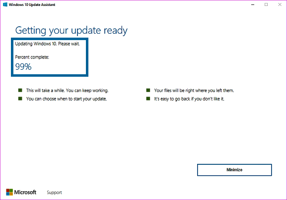 Windows 10 Upgrade Assistant Stuck at 99