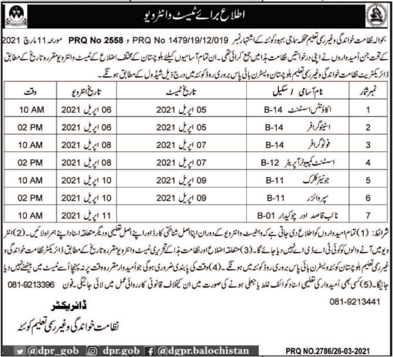 Jobs in Literacy & Non Formal Basic Education Department