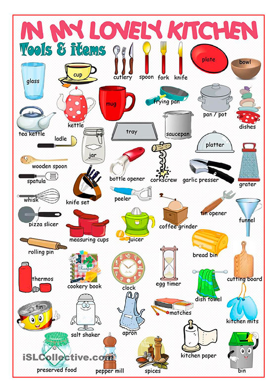 Los nombres de los utensilios de cocina en ingls