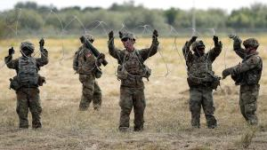US Troops Lay Down Barbed Wire At Southern Border