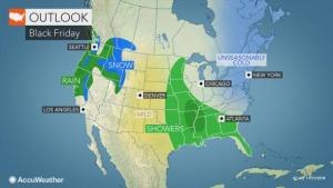 Rainy, icy weather to slow travel in central US on Black Friday