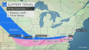 Snow, ice and rain to streak across the nation through Saturday