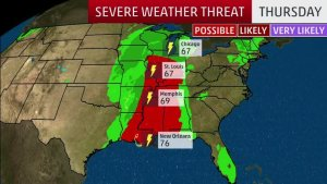 Three-Day Threat of Severe Thunderstorms, Including Tornadoes, in the South, Midwest and East Beginning Wednesday