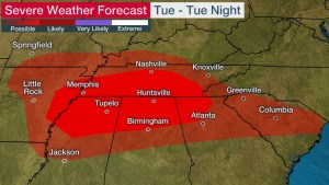 Severe Thunderstorms and Heavy Rainfall to Spread Across the Mid-South on Tuesday