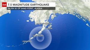 Magnitude 7.5 earthquake near Alaska creates tsunami